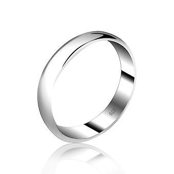 925 Sterling Silver 5 Mm Width D-shape Solid Plain Wedding Band