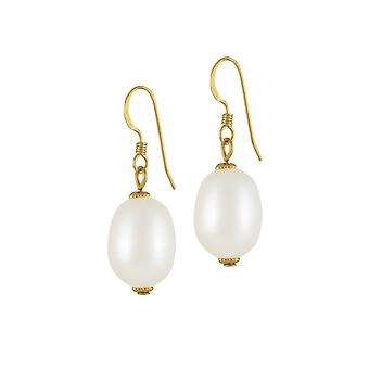 Eternal Collection Doyenne AAA White Freshwater Pearl Gold Filled Drop Pierced Earrings