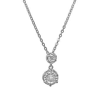 Ah! Jewellery Sterling Silver Clear Double Pear Crystals From Swarovski Necklace