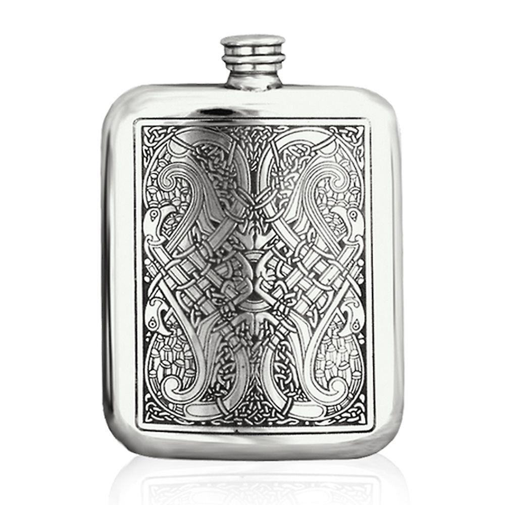 6oz Celtic Knots Stamped Flask Pewter - Cel128
