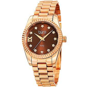 Burgi Women's Swiss Quartz Swarovski Crystals Stainless Steel Rose-Tone Bracelet Watch BUR194RGBR