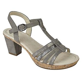 Ladies Womens Sandals T Bar Buckle Halter Back Ankle Strap Mid Heel Shoes