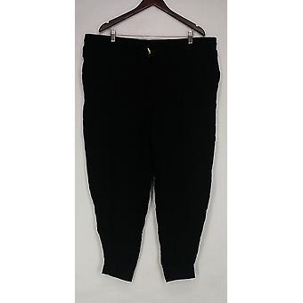 Whitney Port Plus bukser trekk på jogger lommer svart A267191