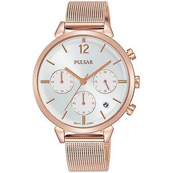 Double Pulsar Watch for Women Analog Quartz with Stainless Steel Bracelet Gold Plated PT3944X1