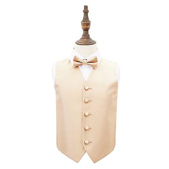 Champagne Solid Check Wedding Waistcoat & Bow Tie Set for Boys