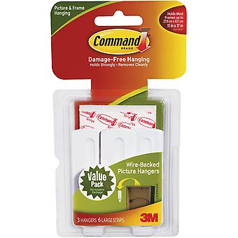 White 3 Hooks & 6 Strips Command Wire Backed Picture Hangers 3M 17043 17043