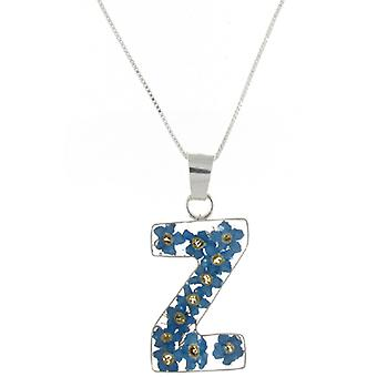 Shrieking Violet Sterling Silver Forget Me Not Flowers Z Initial Pendant
