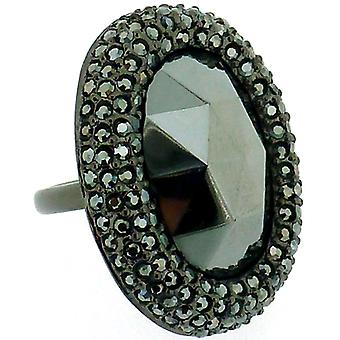 Kenneth Jay Lane Swarovski Crystal & Black Diamond Oval Ring
