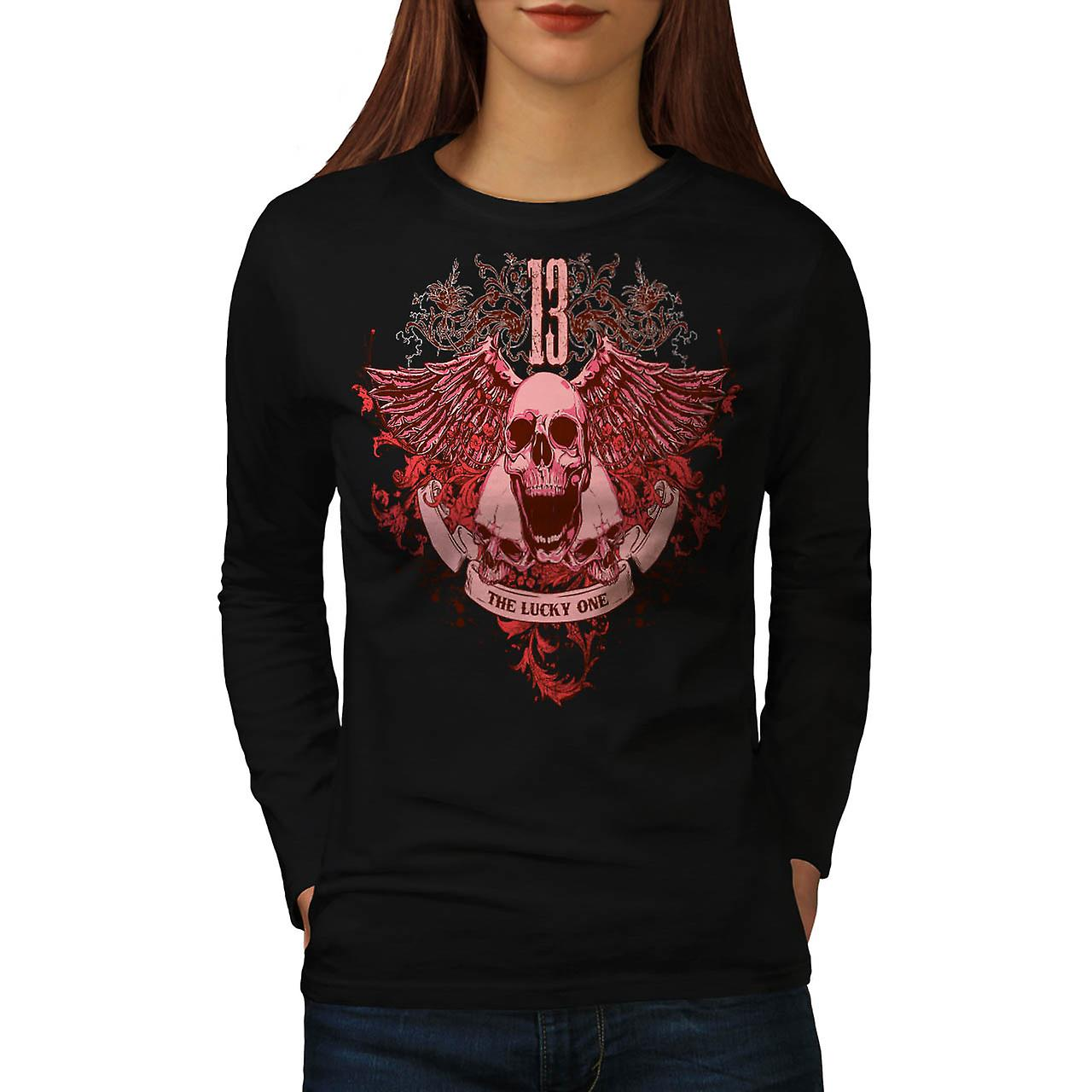 13 The Lucky One Skull Charm Head Women Black Long Sleeve T-shirt | Wellcoda