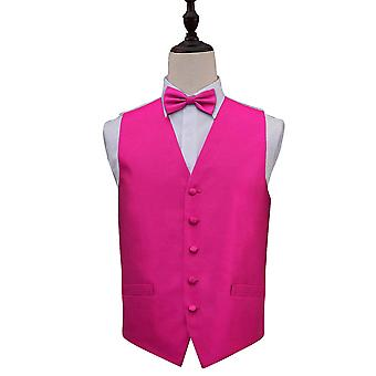 Fuchsia Pink Solid Check Wedding Waistcoat & Bow Tie Set