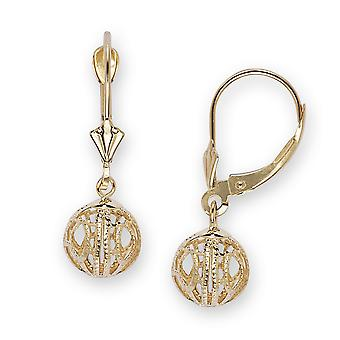 14k Yellow Gold Large Fancy Ball Drop Leverback Earrings - Measures 26x9mm