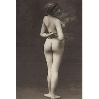 Three-Quarter Pose in Stormy Setting Poster Print by Vintage Nudes