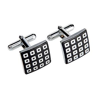 Marcell Sanders mens cuff links square checked black stainless steel
