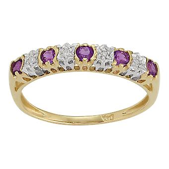 Gemondo 9ct Yellow Gold, 0,20 ct Amethyst & 2pt halve eeuwigheid Diamond Ring Band