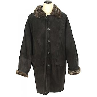 Gateno - lamb suede winter coat Shearling collar navy leather jacket suede leather