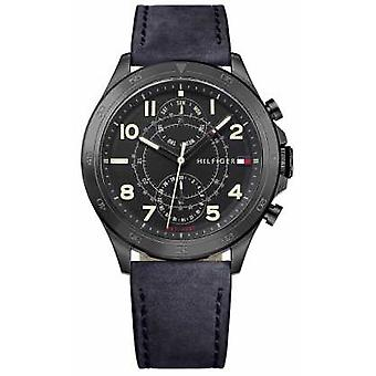 Tommy Hilfiger Mens Black Dial Black Leather Strap 1791345 Watch