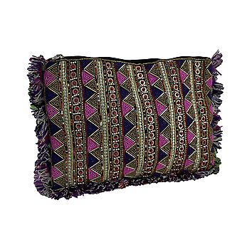 Pink Purple and Gold Sparkly Beaded Clutch Purse with Fringe Edges
