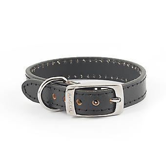 Heritage Diamond Leather Collar Black Large 25mm X46-58cm