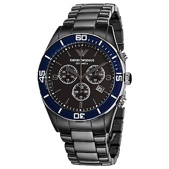 Emporio Armani AR1429 Black & Blue Dial Ceramica Chronograph Watch