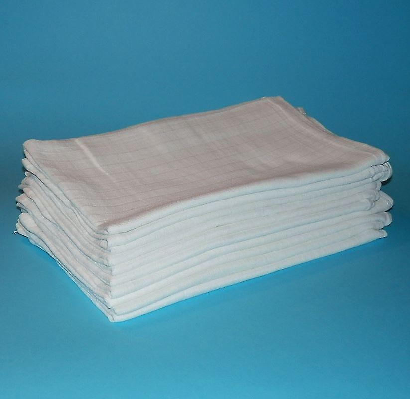 10 x White Muslin Squares Bibs Baby Muslins Cloths Nappy Inserts 70 x 70 100% cotton