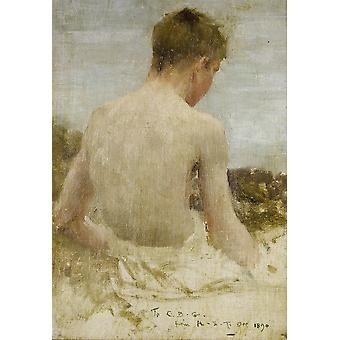 Henry Scott Tuke - Back of a boy bather Poster Print Giclee