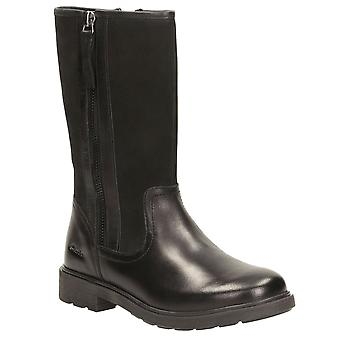 Clarks Ines Rain Junior Girls Black Leather Long Boots