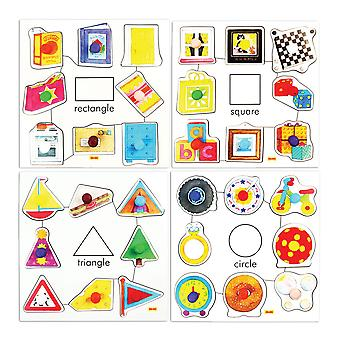 Bigjigs Toys Shapes Set 1 Pegged Puzzles (Set of 4)