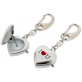 Gift Time Products I Love U Heart Clock Key Ring - Silver