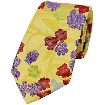 Posh and Dandy Colourful Floral Silk Tie - Yellow/Red/Purple
