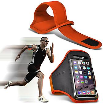 ONX3 (Orange) Adjustable Sweatproof/Water Resistent Sports Fitness Running Cycling Gym Armband Phone Case For Blu Studio J2