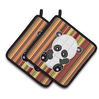 Carolines Treasures  BB6802PTHD Striped Panda Pair of Pot Holders