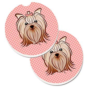 Pink Checkered Yorkie / Yorkshire Terrier Set of 2 Cup Holder Car Coasters