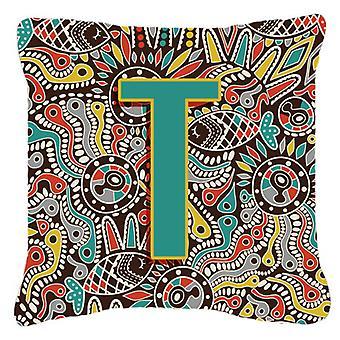 Letter T Retro Tribal Alphabet Initial Canvas Fabric Decorative Pillow