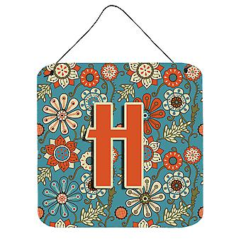 Letter H Flowers Retro Blue Wall or Door Hanging Prints