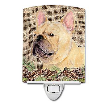 French Bulldog on Faux Burlap with Pine Cones Ceramic Night Light