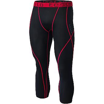 Tesla MUC18 Contour-Stitch 3/4-Length Compression Tights - Black/Red