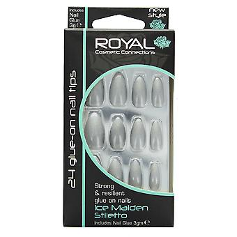 Royal 24 Glue-On Strong & Resilient Nail Tips-Ice Maiden Stiletto