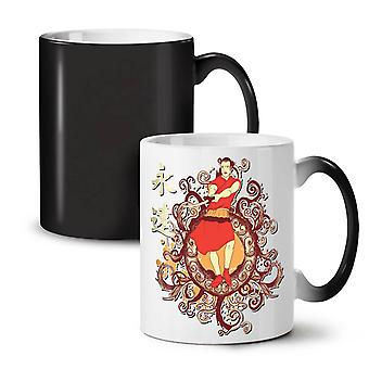 Japan Folklore Fashion NEW Black Colour Changing Tea Coffee Ceramic Mug 11 oz | Wellcoda
