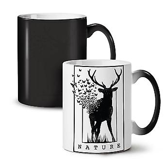 Deer Butterfly Nature NEW Black Colour Changing Tea Coffee Ceramic Mug 11 oz | Wellcoda