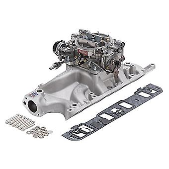 Edelbrock 2032 Single-Quad Manifold And Carb Kit For Performer RPM Manifold w/800cfm Thunder Series Carb Incl. Carb/Fuel