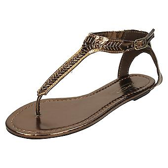 Ladies Spot On Flat Toe Post Sandals With Beaded Design