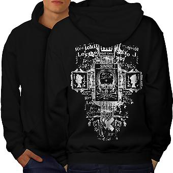 Symbols Goth Vintage Men BlackHoodie Back | Wellcoda