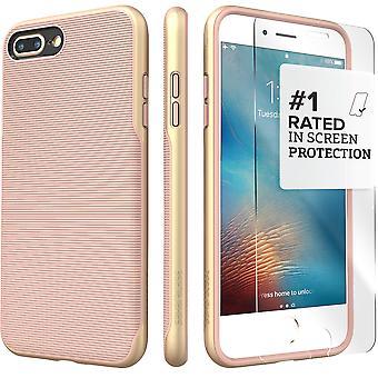 SaharaCase iPhone 8 Plus & 7 Plus rosa caja de oro, tendencia protectora Kit paquete con ZeroDamage de cristal templado