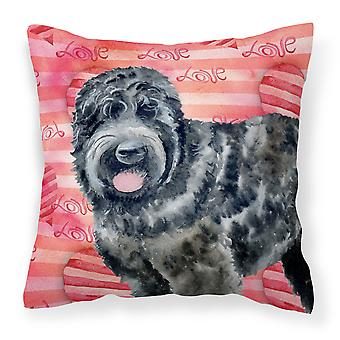 Black Russian Terrier Love Fabric Decorative Pillow
