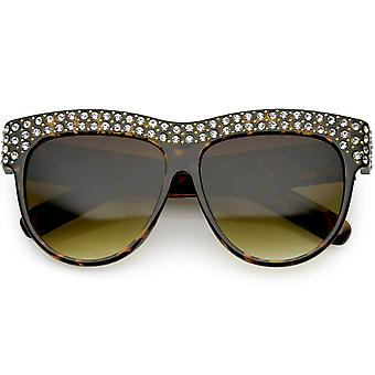 Handcrafted Rhinestone Stud Embellished Oversize Sunglasses Round Flat Lens 57mm