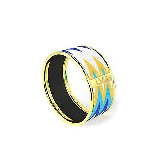 Legende-Vogue - Armband Armreif gold Stammes-Totem weiß blau gelb