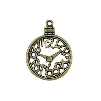 Packet 4 x Steampunk Antique Bronze Tibetan 40mm Clock Charm/Pendant ZX09595