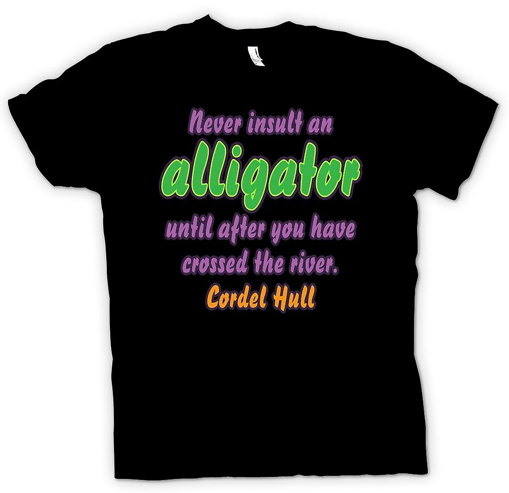 Mens T-shirt - Never insult an alligator 'til you've crossed the river