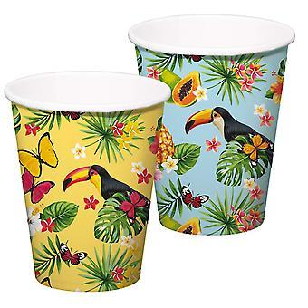 Toucan summer party XL mug 350 ml 8pcs tropical Toucan party decoration