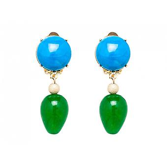 Gemshine - dames - boucles d'oreilles - Boucles d'oreilles - or plaqué - bleu - jade - turquoise - vert - drops - 3,5 cm